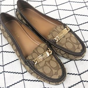 Coach Signature Olive Logo Driving Loafers 10